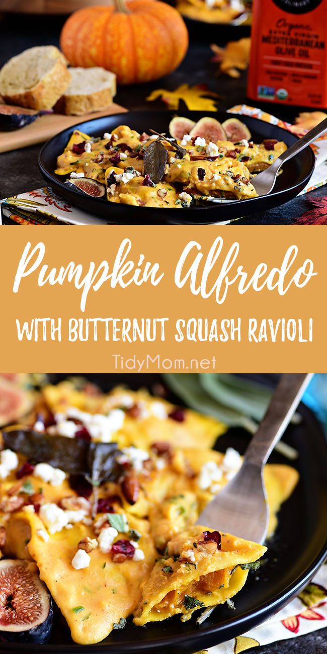 Pumpkin Alfredo with butternut squash ravioli is the epitome of fall flavors in one dish! On the table in less than 30 minutes!