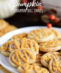 Cinnamon Roll Cookies with pumpkin spice glaze