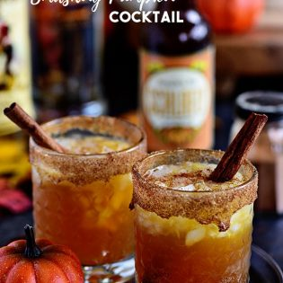 Fall spices, pumpkin ale, and equal parts spiced rum and butterscotch Schnapps makes this Smashing Pumpkin Cocktail the best thing to hit your cocktail glass this fall! Get the full recipe at TidyMom.net