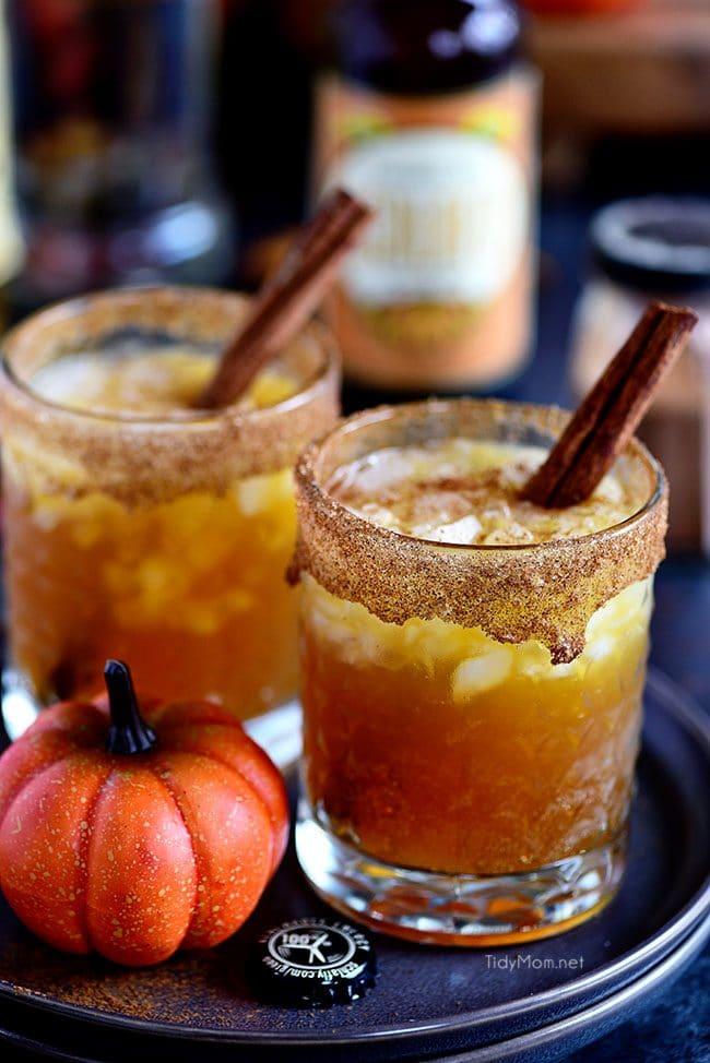 Smashing Pumpkin Cocktails with cinnamon sticks