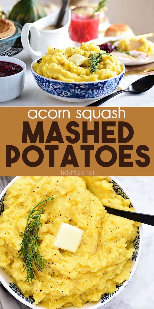 Give a fall-inspired twist to an old favorite with Acorn Squash Mashed Potatoes. Nutty acorn squash and buttery Yukon gold potatoes are mashed to creamy perfection. The result is a festive, flavorful side dish everyone will love.  Print full recipe at TidyMom.net #mashepotatoes #squash #fallfood