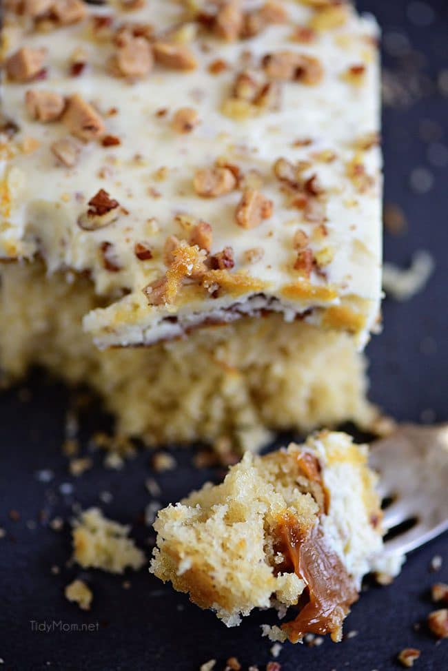 Caramel Butter Pecan Cake With Bourbon Frosting on a fork