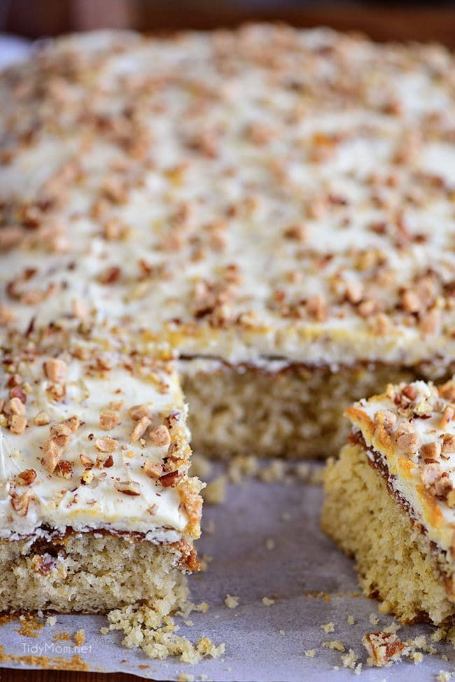 Cut Caramel Butter Pecan Cake With Bourbon Frosting
