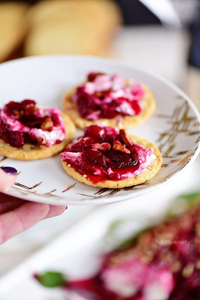 Red Wine Cranberry Cheese Log spread on crackers