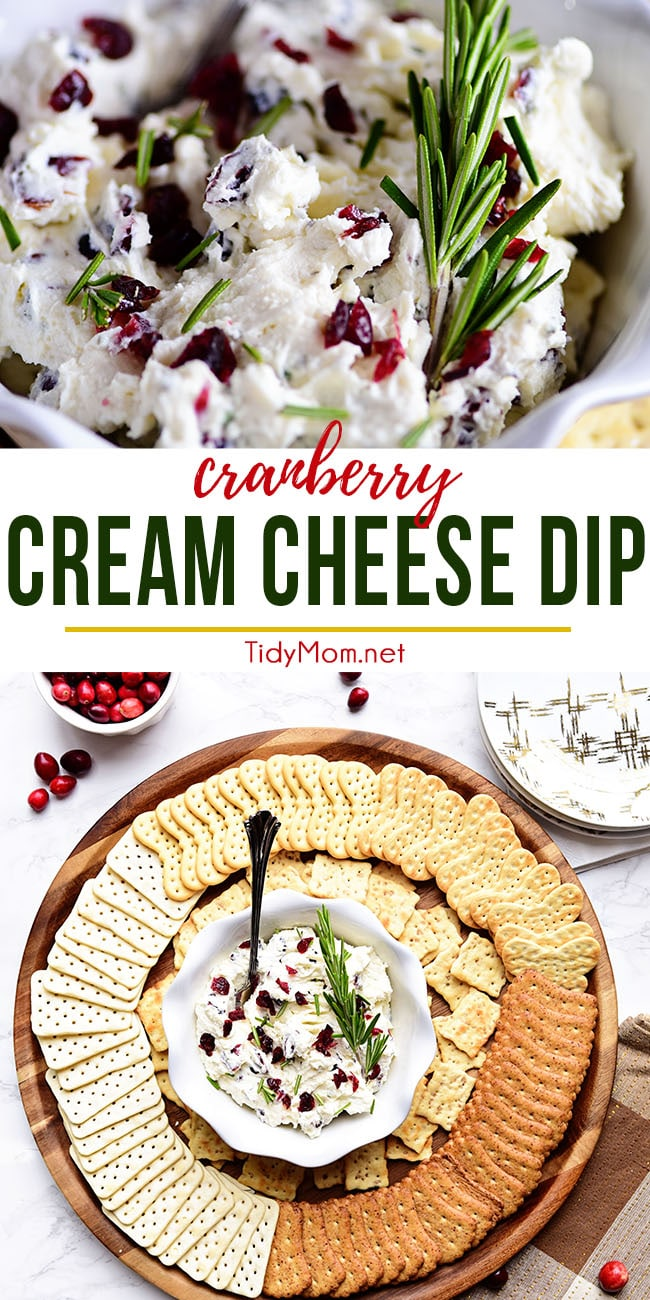 This festive Cranberry Cream Cheese Dip with rosemary is a snap to make and only gets better with age. With a hint of tangy sweetness, both kids and adults will gobble it up. Visit TidyMom.net to print the full recipe #cranberry #creamcheese #dip #cheesespread #holiday #appetizer