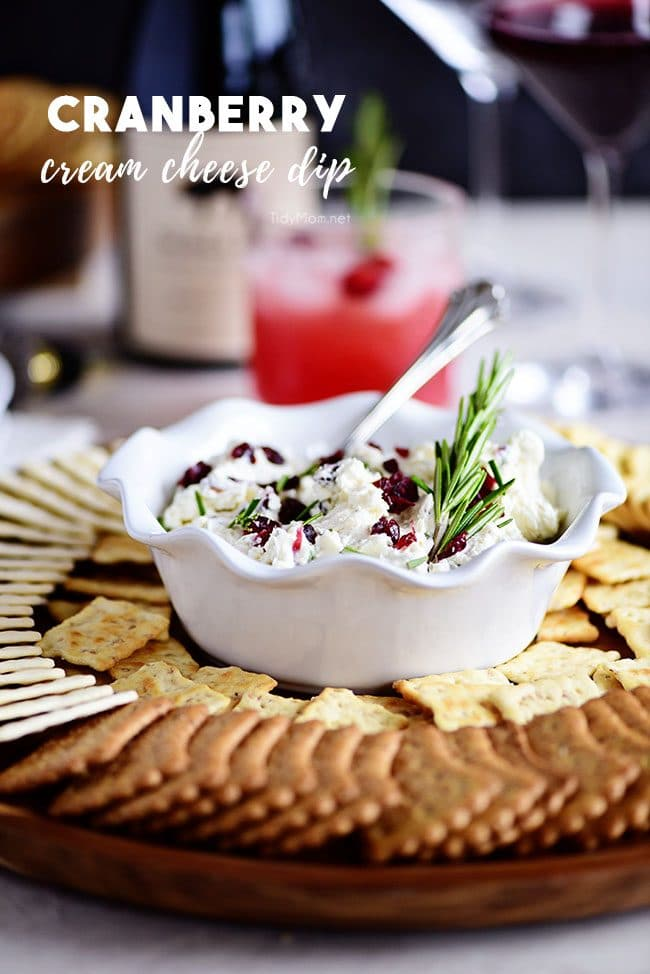 Cranberry Cream Cheese Dip in bowl on tray