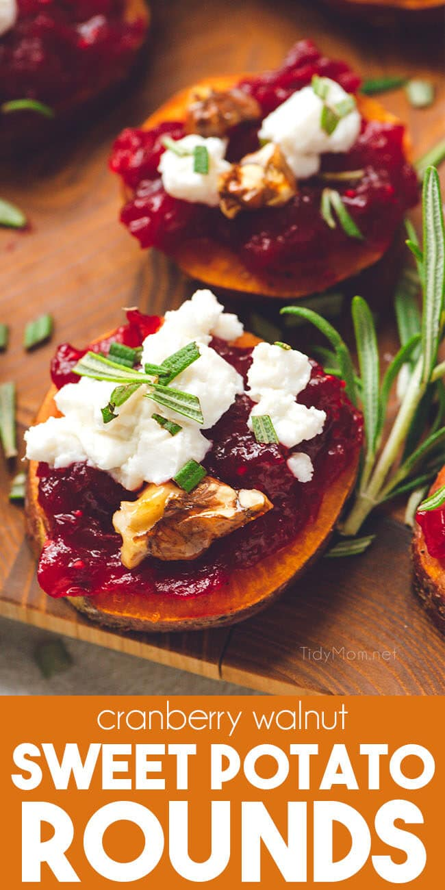 Cranberry Walnut Sweet Potato Rounds on serving board