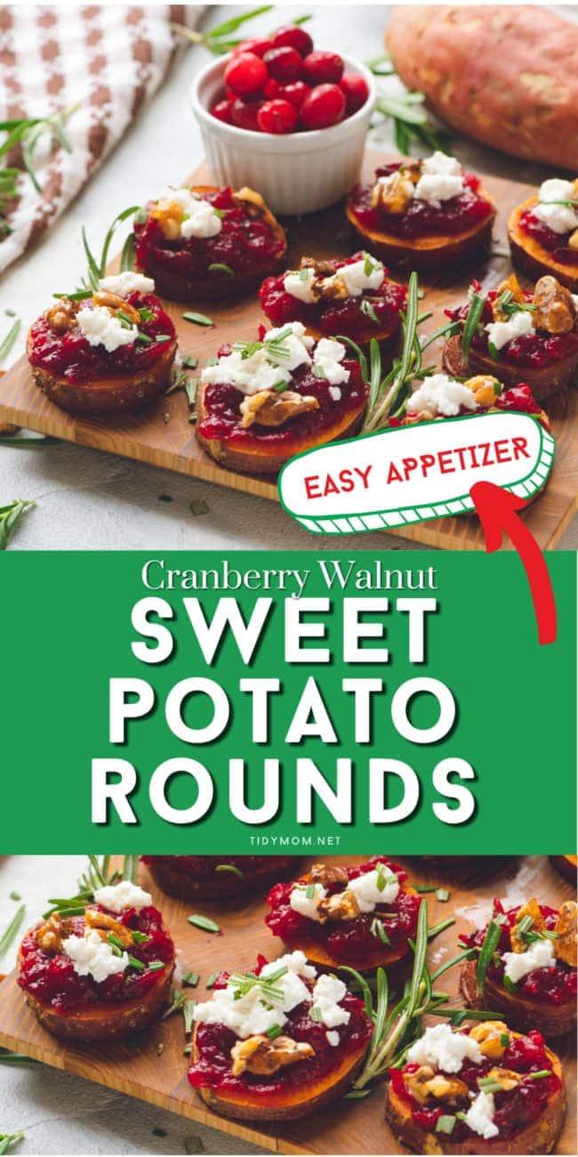 sweet potato appetizer on wooden tray