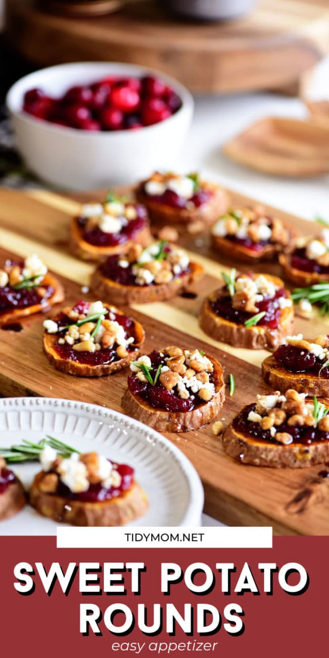 cranberry sweet potato appetizer on a wood tray