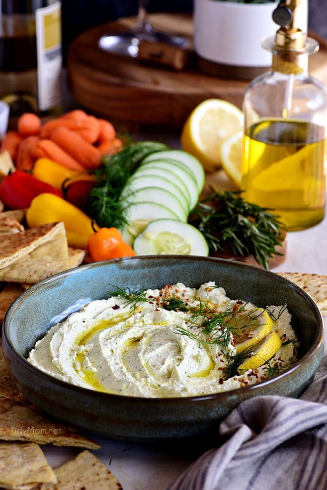 bowl of Whipped Feta with rosemary olive oil