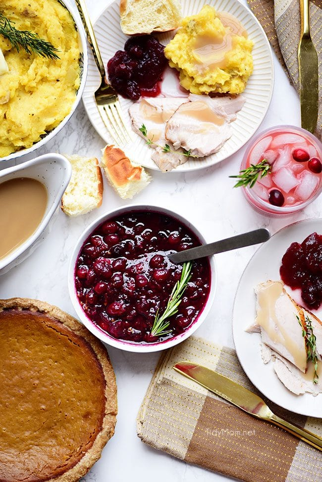 Thanksgiving table with bowl of Fresh Cranberry Sauce
