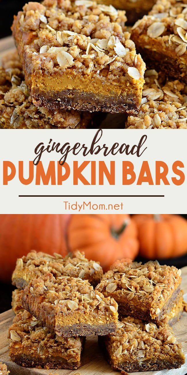 pumpkin bars with gingerbread crust