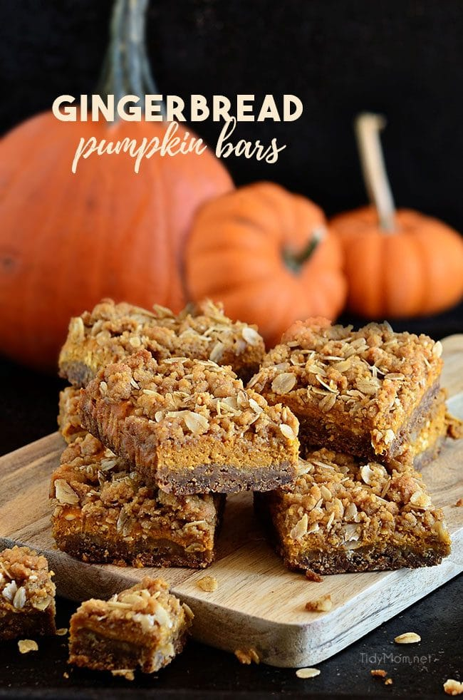 gingerbread pumpkin bars stacked on board