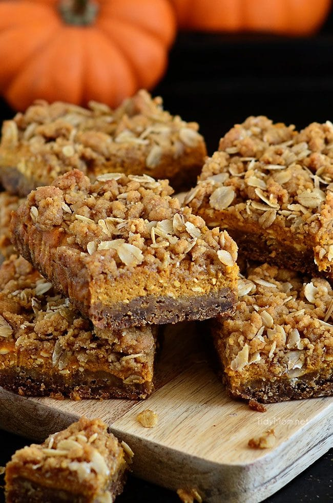 gingerbread pumpkin bars on board