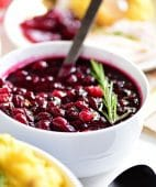 Fresh Cranberry Sauce in bowl with spoon