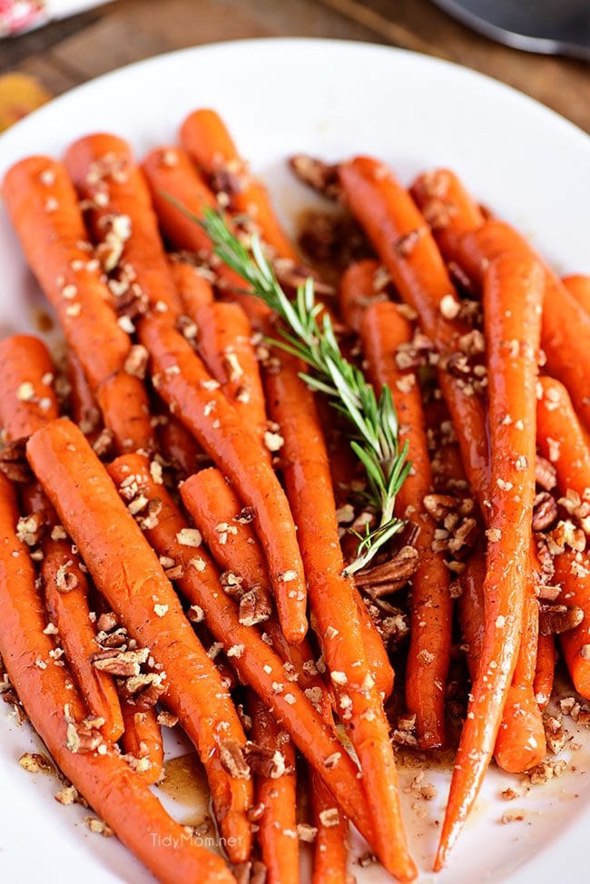 Pecan Pie Glazed Carrots on platter
