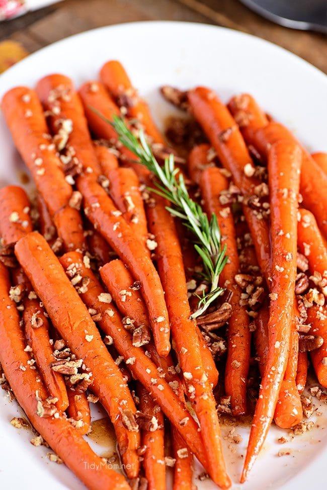Pecan Pie Glazed Carrots on platter