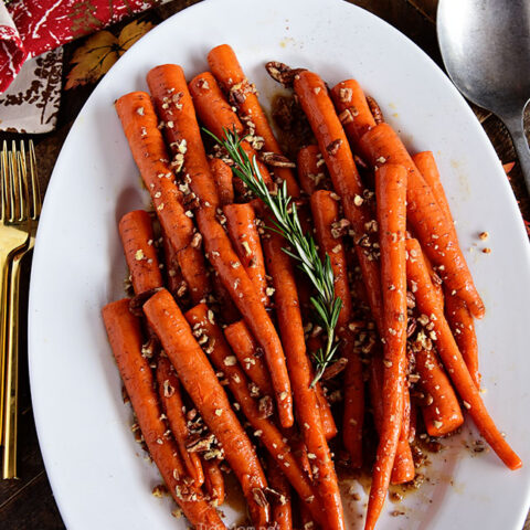 Pecan Pie Glazed Carrots on table