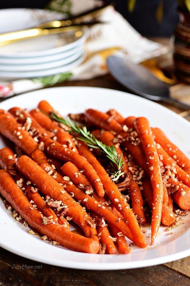 Pecan Pie Glazed Carrots on white platter