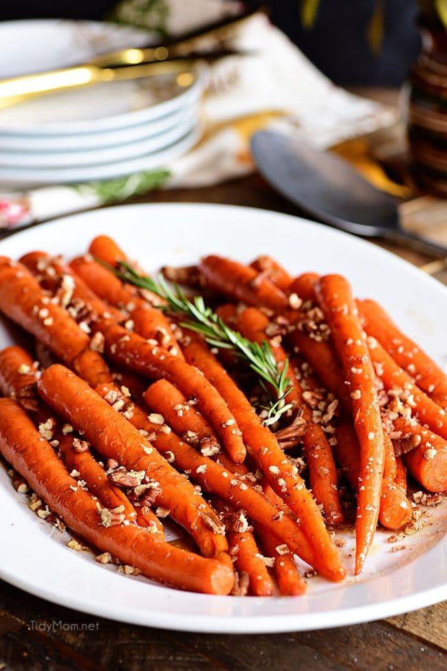 Pecan Pie Glazed Carrots on white platter