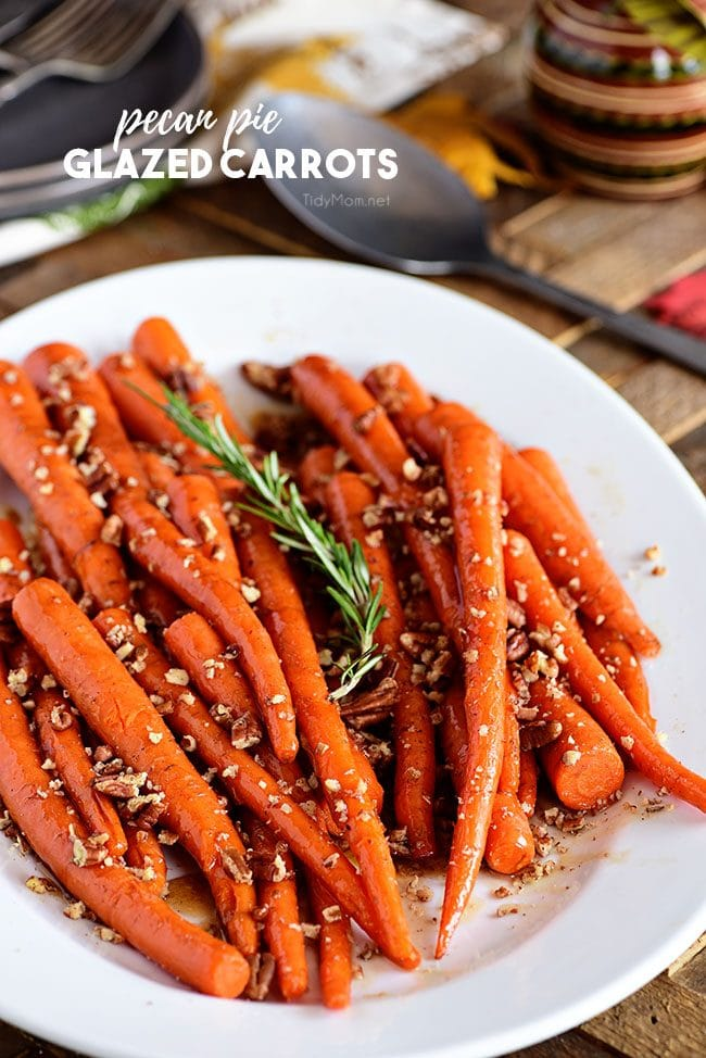 white platter with Pecan Pie Glazed Carrots