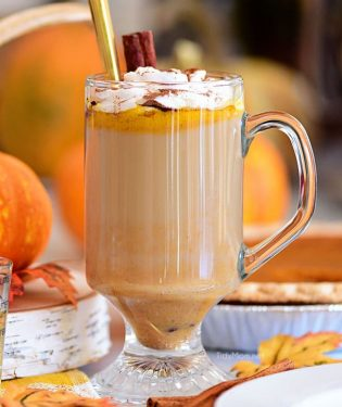 Pumpkin Spice Hot Buttered Rum in clear glass mug