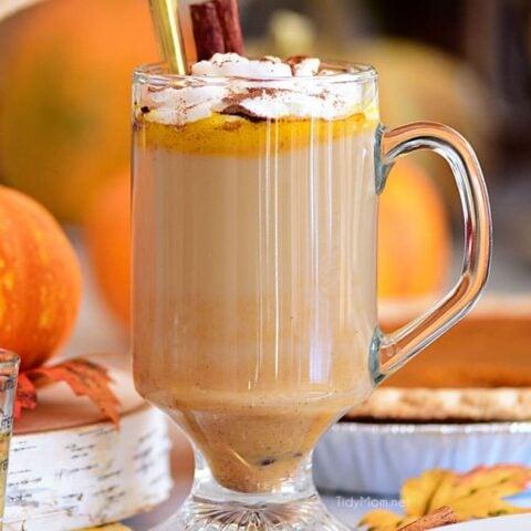 Pumpkin Spice Hot Buttered Rum in clear glass mug