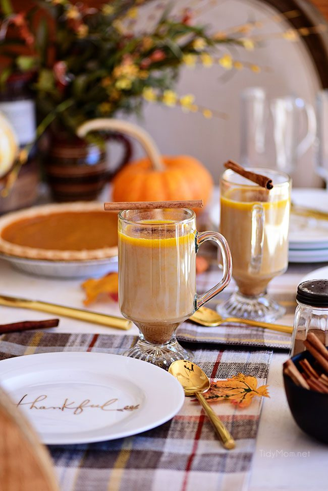 Pumpkin Spice Hot Buttered Rum on Thanksgiving table.