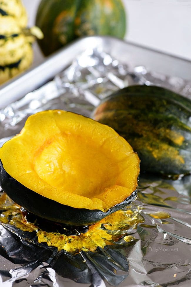 roasted acorn squash on pan