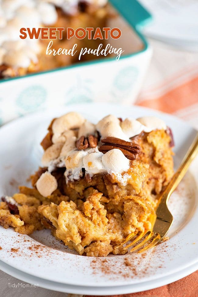 Sweet Potato Bread Pudding on plate with fork