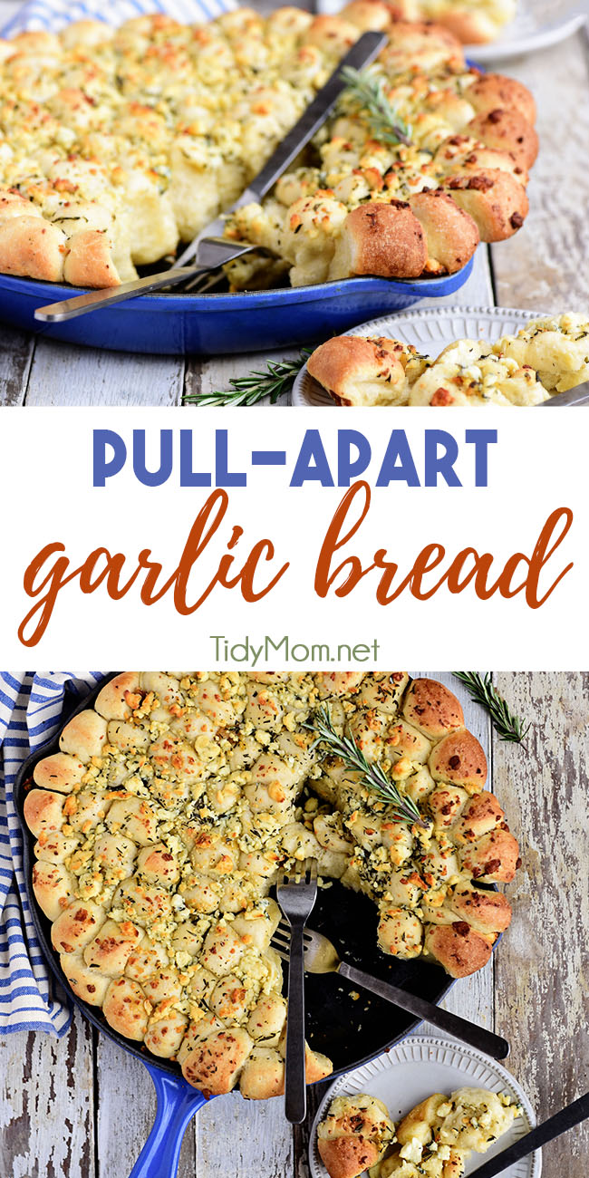 Guests go crazy for Cheesy Pull-Apart Garlic Bread whenever I serve it. This golden loaf is topped with roasted garlic, butter, blue cheese, and rosemary. A super easy recipe that makes the perfect addition to any party, get-together or meal. Print the full recipe at Tidymom.net #pullapartbread #garlicbread #monkeybread #cheesebread