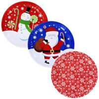 Christmas House Holiday Prints Round Tin Serving Trays Bundle Set Set of 3 10 inch