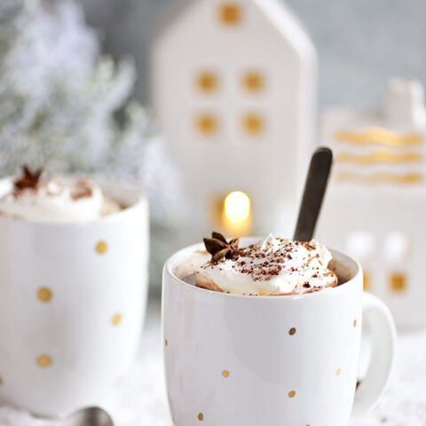 a warm mug of Butterscotch Schnapps Spiked Hot Chocolate