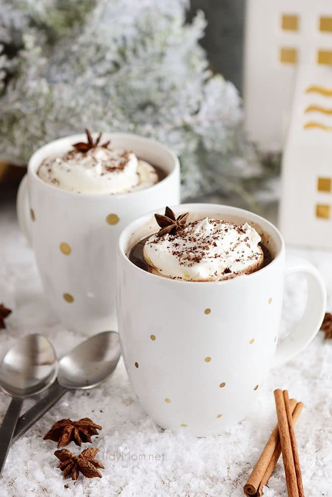two mugs of Butterscotch Schnapps Spiked Hot Chocolate