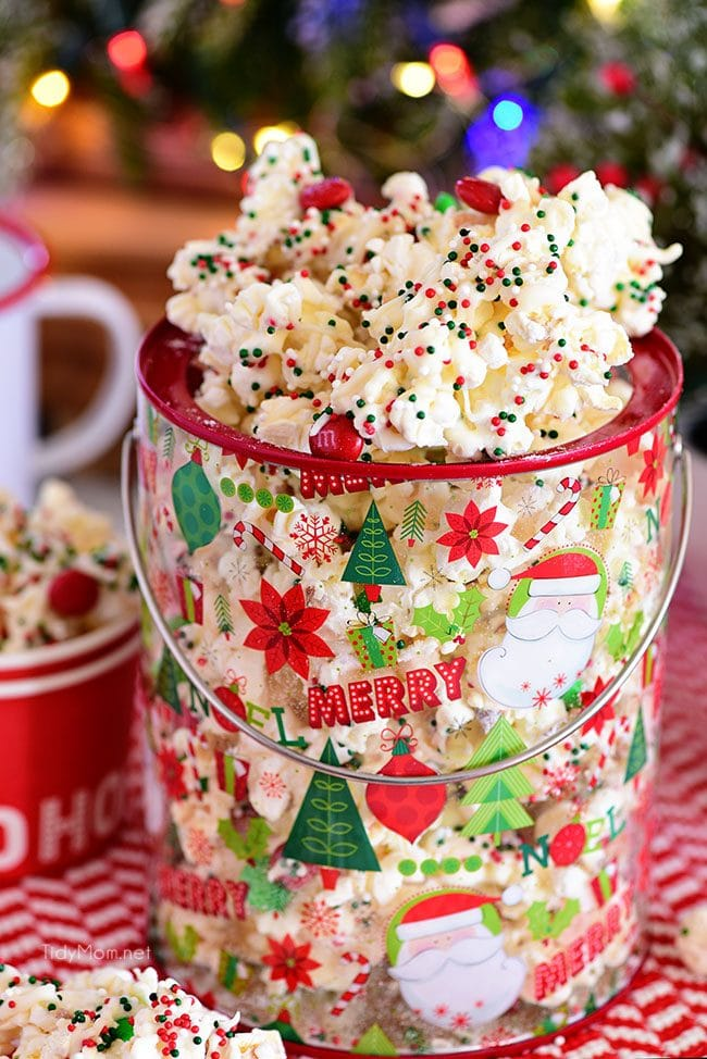 Christmas Popcorn in a bucket