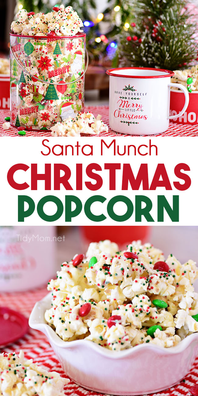Santa Munch Christmas Popcorn is an easy treat that's perfect for gifts and parties. Salty popcorn tossed in white cake mix, M&M candies and holiday sprinkles covered in white chocolate for an irresistible snack mix even Santa will love.  Print the full recipe at TidyMom.net #popcorn #sweetandsalty #christmas