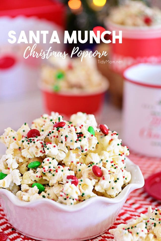 Santa Munch Christmas Popcorn in a bowl