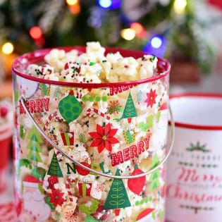 Santa Munch Christmas Popcorn in bucket