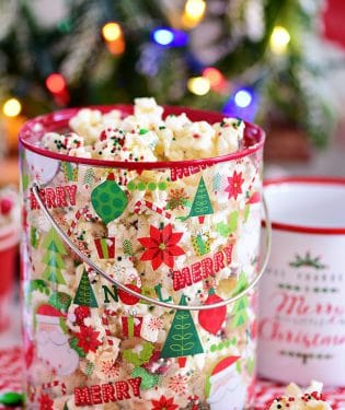 Santa Munch Christmas Popcorn in bucket