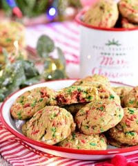 Soft-Baked Christmas Sprinkle Cookies on Christmas plate