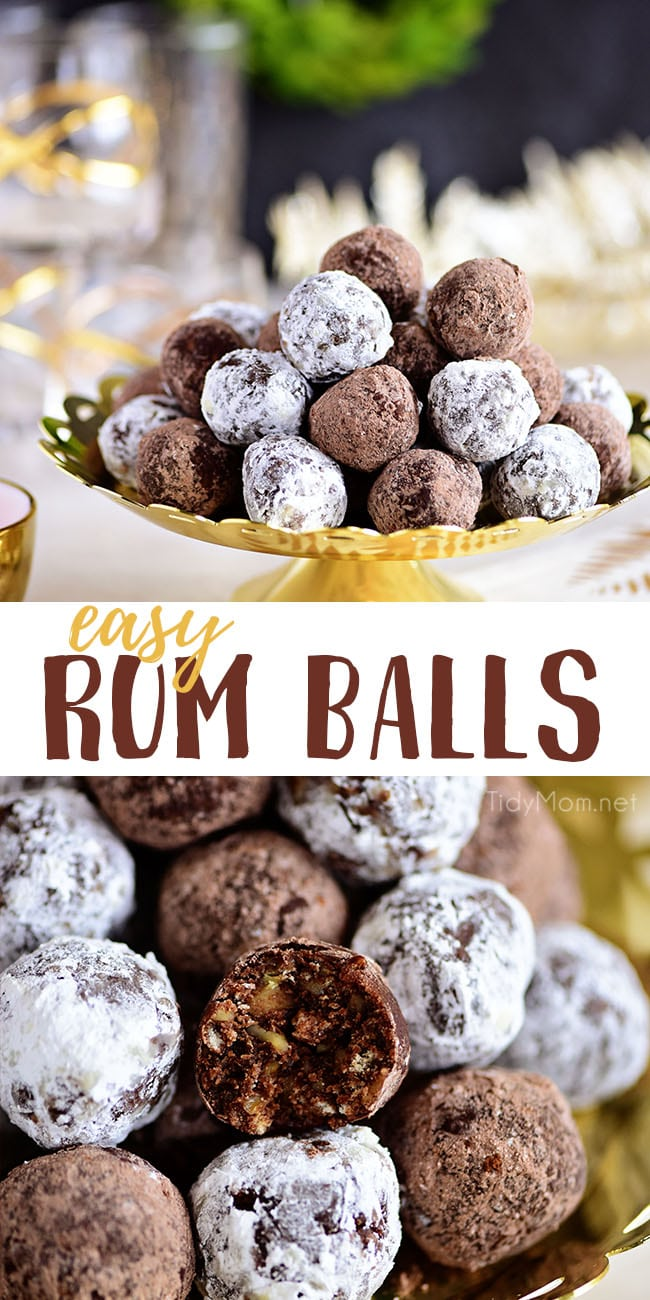 These easy Rum Balls are a tender, pecan-filled truffle like treat that is for adults only. Made with dark rum, they are a delicious way to spread holiday cheer. With just a few simple ingredients and no baking required, this boozy confection packs a punch and is sure to make cookie season a little brighter! Print the full recipe at TidyMom.net #rumballs #christmascookies #nobake #truffles