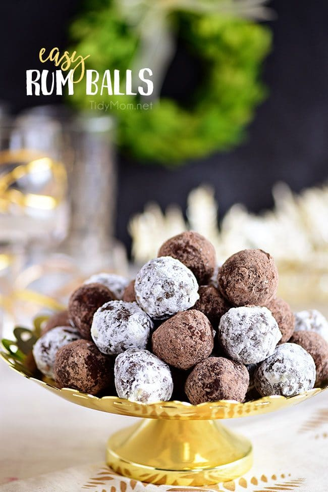 easy Rum Balls stacked on gold tray