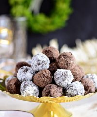 easy Rum Balls on gold tray
