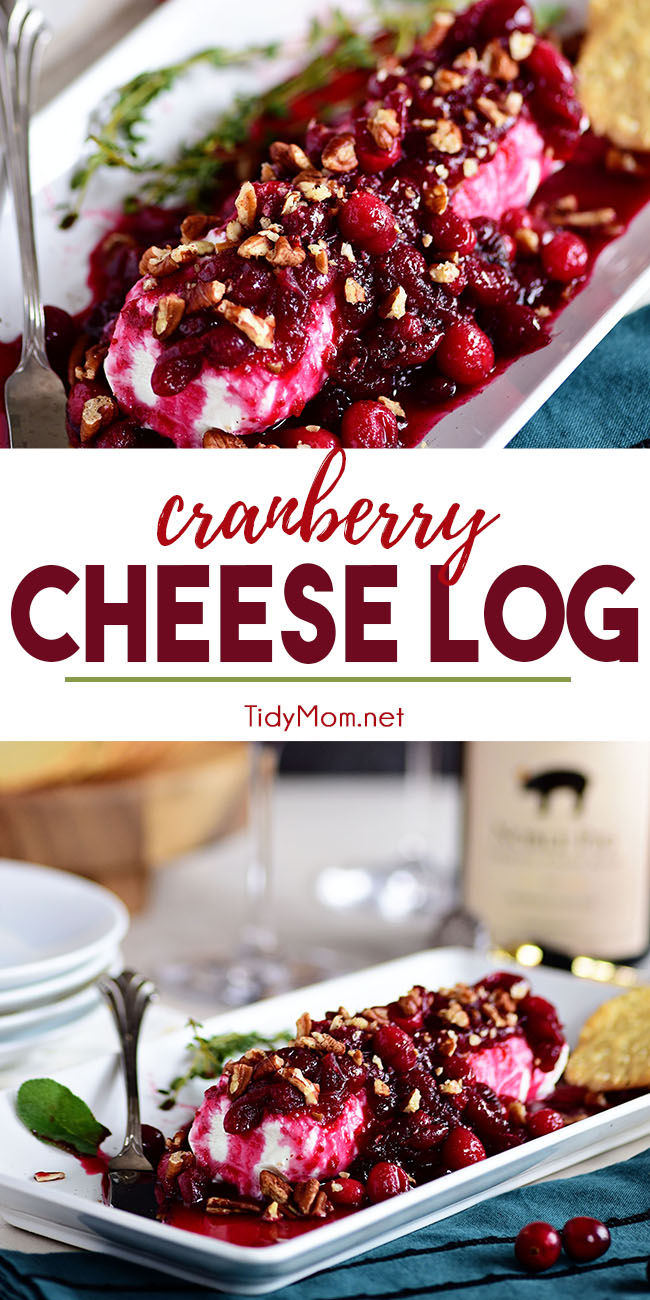 Red Wine Cranberry Cheese Log is a festive holiday appetizer that is sure to please any crowd. Wine-spiked cranberry syrup is spooned over a goat cheese log; quick, easy, and delicious! Visit TidyMom.net for the full recipe #cheese #cheeselog #cheeseball #cranberry #holiday #wine #redwine