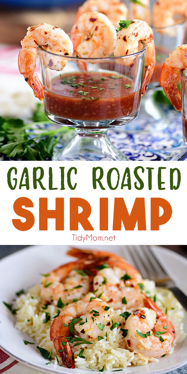 This simple and delicious Garlic Roasted Shrimp takes almost no time to make and it's bursting with flavor. Making it the perfect party appetizer or quick healthy dinner idea. Get the easy recipe at TidyMom.net #shrimp #appetizers #easydinner