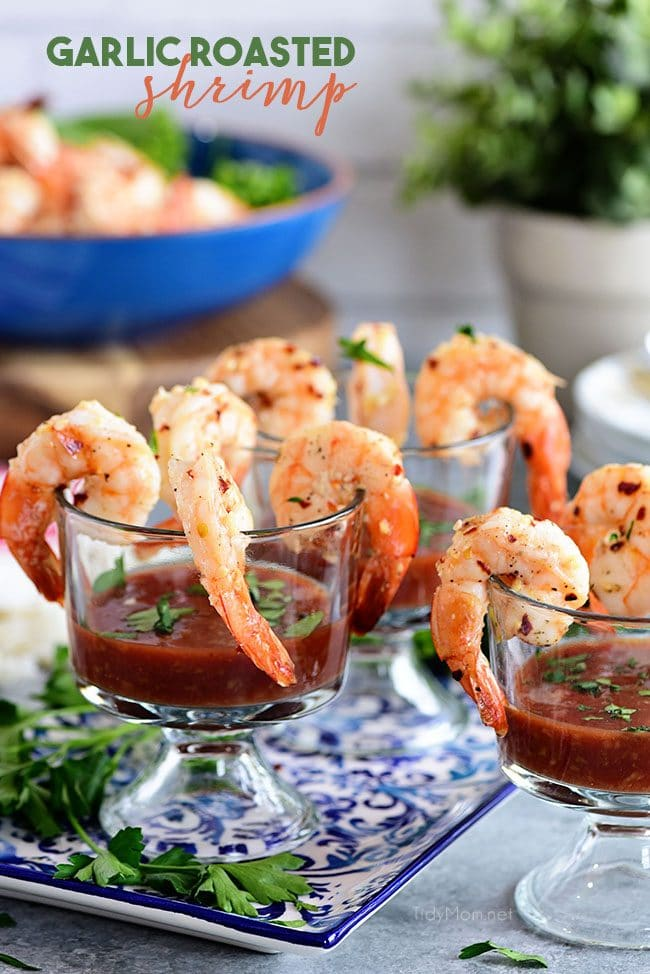 Garlic Roasted Shrimp cocktail appetizer