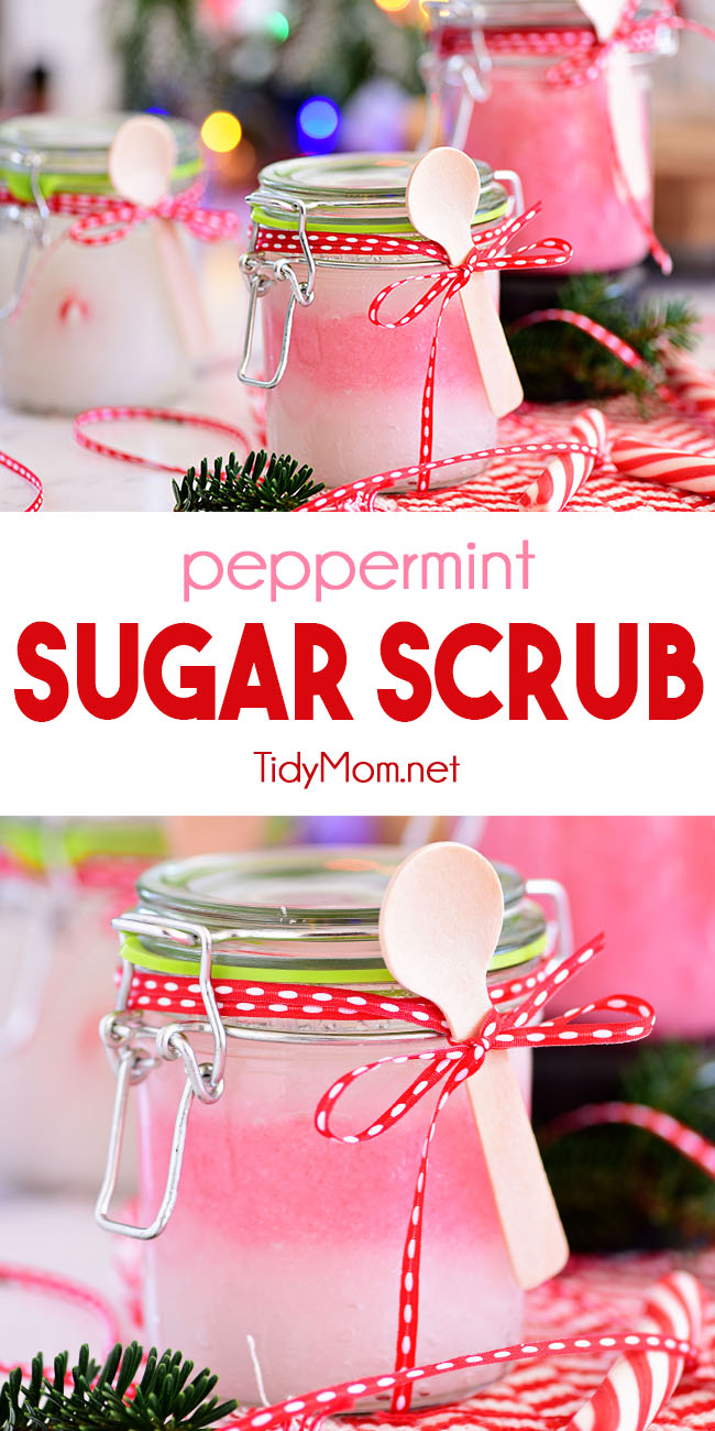 This DIY 3 ingredient Peppermint Sugar Scrub is a real treat to gently nourish and deeply moisturize your skin. It only takes minutes to hand-blend a few simple ingredients that your skin will love. Great for handmade gifts - quick, simple and cute!! What's not to love?! Get the full recipe tutorial at TidyMom.net #sugarscrub #peppermint #handmadegifts #coconutoil