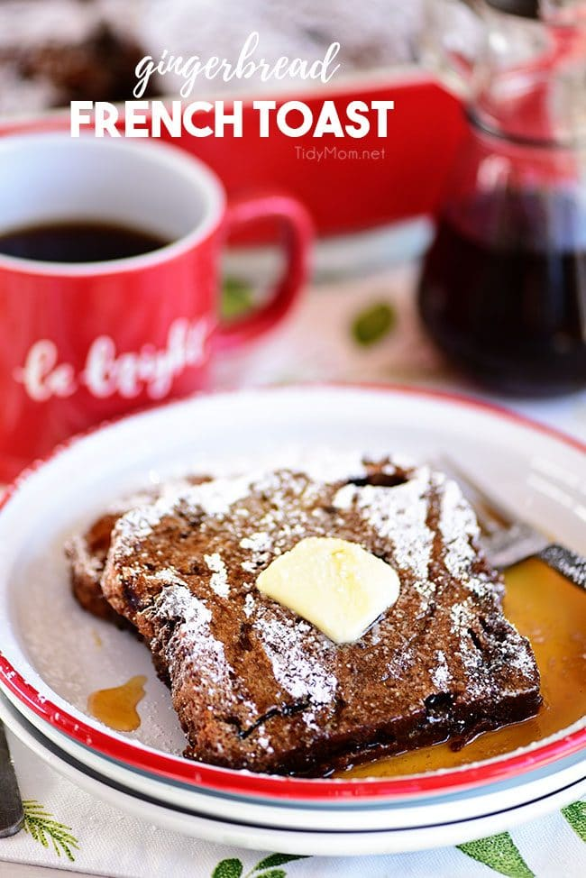 Gingerbread French Toast on plate with butter and syrup
