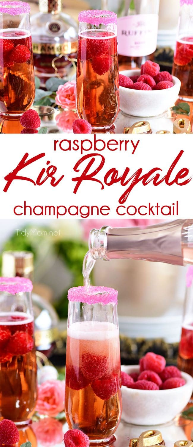 Raspberry Kir Royale cocktail photo collage