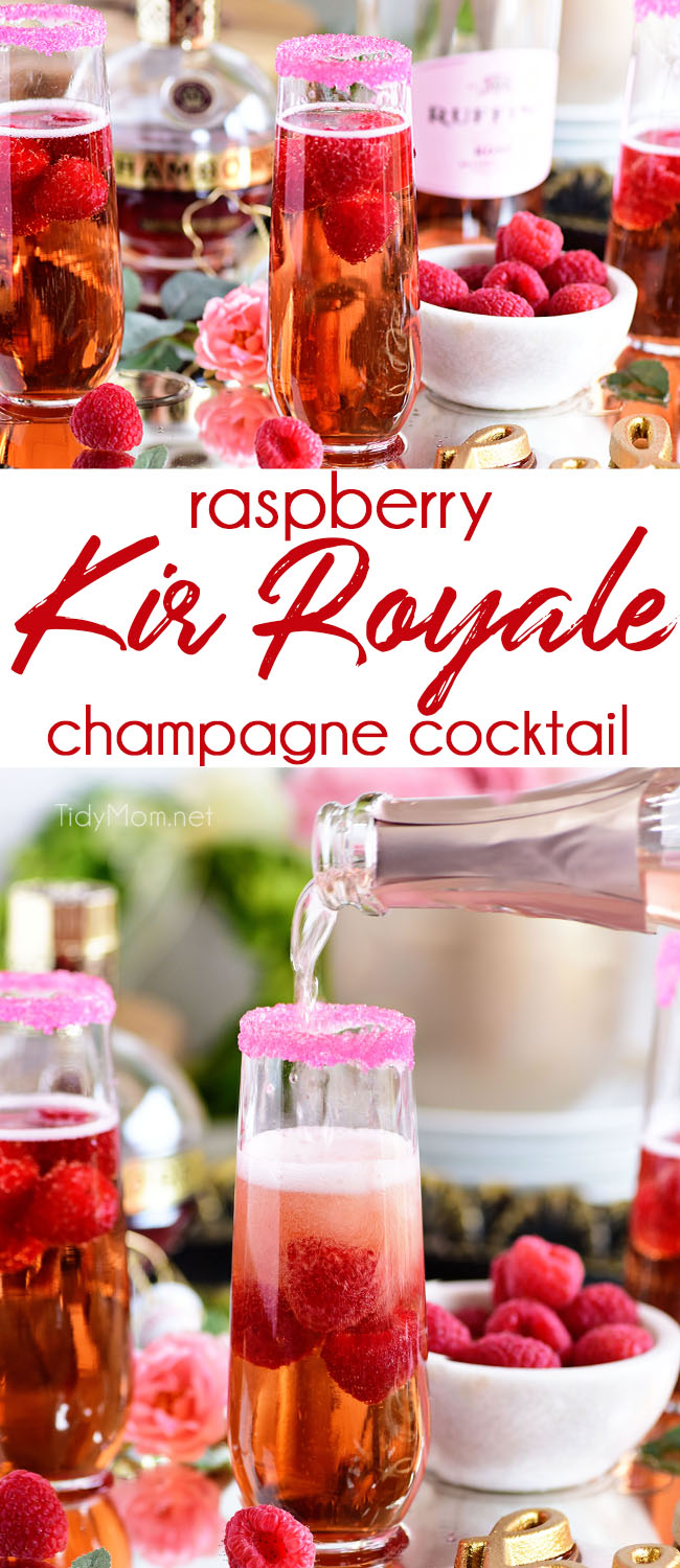 Raspberry Kir Royale is sure to make any occasion feel extra special. Go grab a bottle of bubbly and Chambord and mix up your new favorite cocktail! Perfect whether you're celebrating New Year's Eve, Valentines Day, or need a bubbly brunch cocktail. Print the recipe at TidyMom.net #cocktails #champagne #raspberry #newyearseve #valentinesday